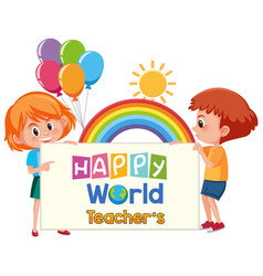 Happy world teachers day logo with two cute vector
