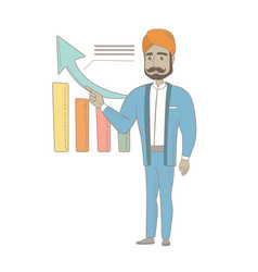Hindu successful businessman pointing at chart vector