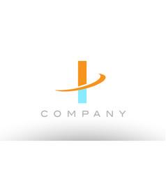 I orange blue logo icon alphabet design vector