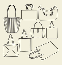 Icon set of canvas bags collection vector