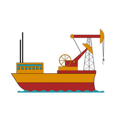 isolated colored oil ship vector image