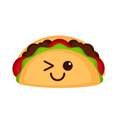 Isolated happy taco emote vector