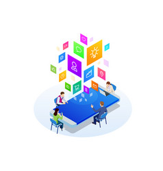 isometric digital marketing strategy concept vector image
