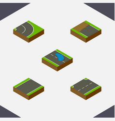 Isometric road set of asphalt incomplete plash vector