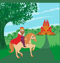 King is riding a horse vector