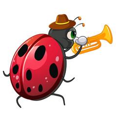 Ladybug playing trumpet cartoon vector