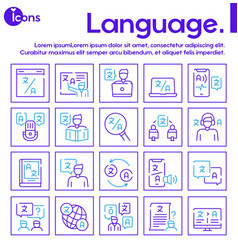 Language learning outline icons set vector