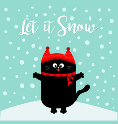 Let it snow black cat kitten red hat scarf vector