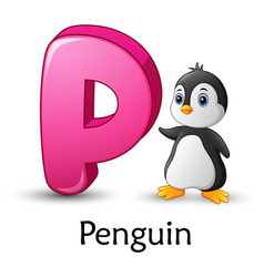 letter p is for penguin cartoon alphabet vector image