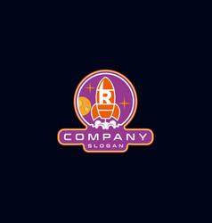 Letter r rocket logo design vector