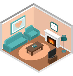 living room isometric interior with fireplace and vector image