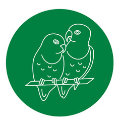 Lovebird parrots icon in thin line style vector