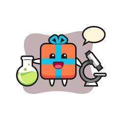Mascot character gift box as a scientist vector