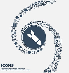 Missilerocket weapon icon sign in the center vector