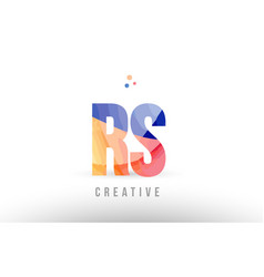Orange blue alphabet letter rs r s logo icon vector