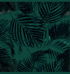 Palm leaves silhouette on the green background vector