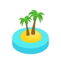 Palms on the island isometric 3d icon vector image