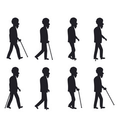 person with cane thin stick with curved handle set vector image