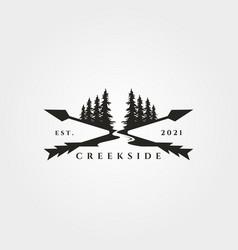 Pine tree river logo landscape vintage design vector