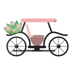 pink marriage carriage with bucket flowers vector image
