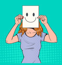 Pop art woman with smiley emoticon on paper sheet vector
