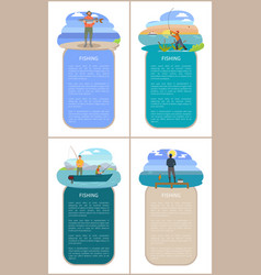 Poster with fishing men and framed text sample vector