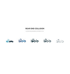 Rear end collision icon in different style two vector