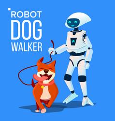 Robot dogwalker petsitter walking a dog vector