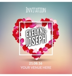 rose petals heart beautiful wedding invitation vector image