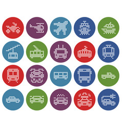Round dotted icons set some transport vector