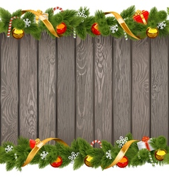 Seamless Christmas Old Board with Decorations vector