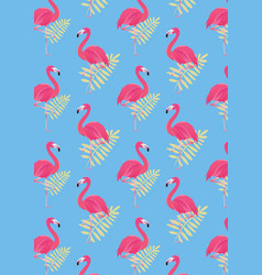 seamless flamingo background pattern vector image