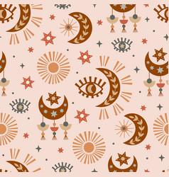 Seamless pattern with celestial eye moon sun vector