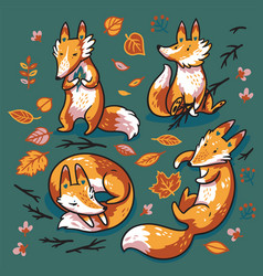 set four cute foxes in autumn leaves sweet vector image