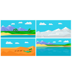 Set natural landscapes in flat vector