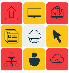 set of 9 web icons includes human website vector image