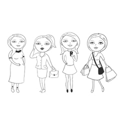 Set of beautiful girls in different roles vector