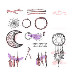Set of dreamcatcher design elements in boho style vector