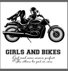 Sexy biker girl - monochrome vector