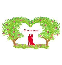silhouette of romantic couple vector image
