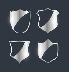 silver badges emblem design set vector image