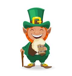 st patricks day leprechaun cartoon character vector image