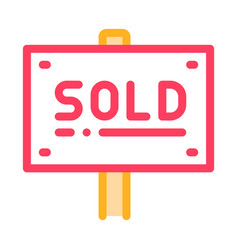 tablet for real estate sold thin line icon vector image