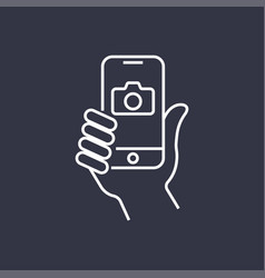 The hand hold the smartphone and photographed with vector