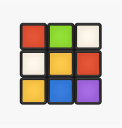 Unsolved rubik cube front view on white vector