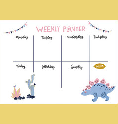 weekly planner cute page for notes vector image