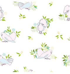 white pattern with pink dove and branch vector image