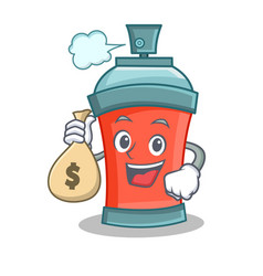 With money bag aerosol spray can character cartoon vector