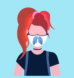 Woman wearing protective face mask with lungs icon vector