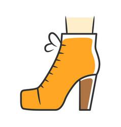 Women lita shoes orange color icon vintage ladies vector